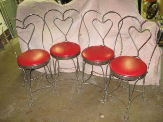 Antique Ice Cream Parlor Sweet Heart Chairs   Soda Fountain Coca Cola