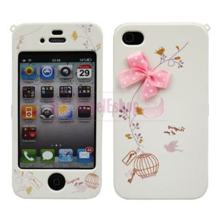 Pink Bowknot Design Hard Case Cover for Apple iPhone 4S 4G 4