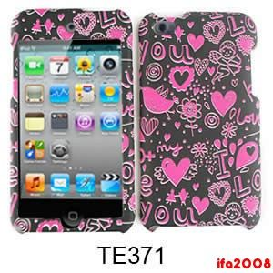 For iPod Touch 4th Gen 4G Pink Heart Black Cell Phone Case Cover Skin