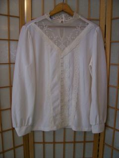 Anthony Richards Vtg 60s 70s Classy Peek A Boo White Lace Blouse Shirt