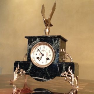 Antique French Japy Bronze Green Marble Clock C1860s
