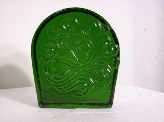 VINTAGE 1969 BLENKO GREEN ART GLASS BOOKEND DOORSTOP FLOWER HEART