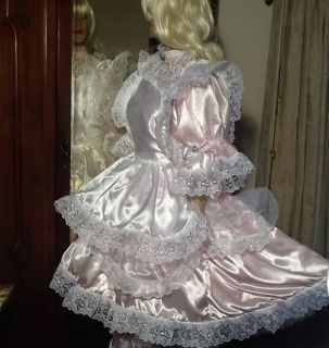 GLOSS SATIN FRILLY LACE BABY FRENCH SISSY MAID BRIDE FANCY DRESS APRON