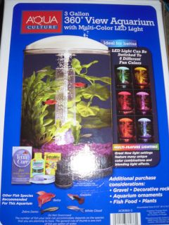 AQUARIUS AquaView 360 Aquarium Kit with LED Light   3 Gallon