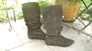 charming aldo ruched brown suede knee high boots 7 time