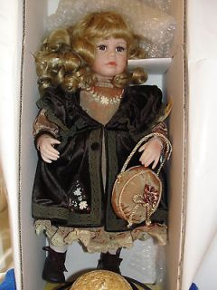 Seymour Mann Alexis Victorian Porcelain Doll brown green velvet velour