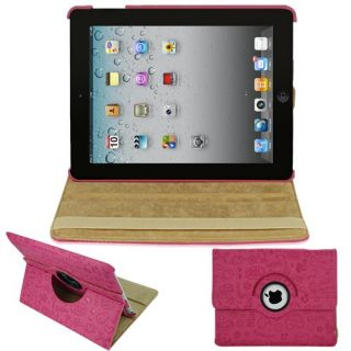 Pink Rotating Case Cover Stand Leather Jacket for Apple iPad 2