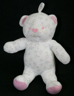 amy coe lovey pink rose bud floral white bear plush