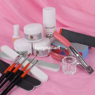 Pro Acrylic Nail Art Full Tools Kit w/ Acrylic Powder Liquid Buffer