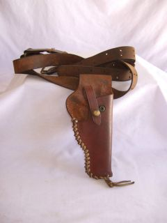 Vintage Leather Shoulder Holster with Leather Belt Harness Marked Red