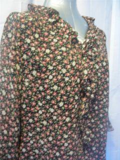 Sz 10 M LAURA ASHLEY Black Pink Floral Print 3 4 Sleeve Vee Silk