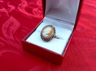 BEAUTIFUL ANTIQUE VICTORIAN ESTATE CARVED SHELL CAMEO SILVER RING SIZE