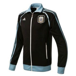 New Adidas Mens Argentina Track Top Soccer Football Black Blue Jersey