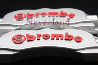 Front Universal Disc Brake Caliper Covers Brembo Look 3D Silver Car