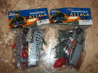 32 Piece Army Men Military Soldier Vehicle Plastic Play Set Lot Gray