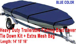 14   16 Aluminum Fishing Boat Cover Trailerable Blue Color Trailable