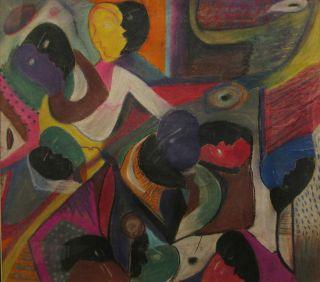 Emma Lee Moss Signed Framed Folk Art Pastel Painting 24 25in H x 22 5W