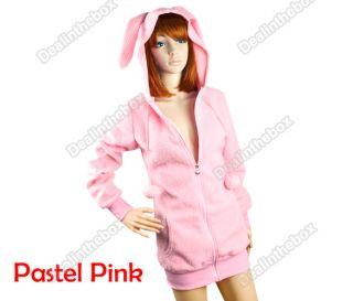 Cute Women Bunny E ars Warm Sherpa Hoodie Jacket Coat tops Outerwear