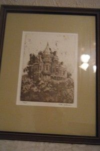 Signed Framed Peter Johnson Art Charcoal~Pencil/Etching/Sketch/Drawing