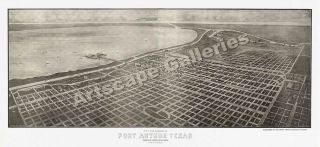 Birds Eye View 1912 Port Arthur TX Old City Map 24x52
