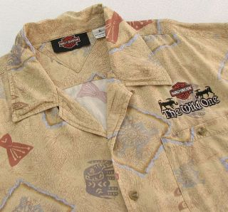 Harley Davidson Mens XL Rayon Button Shirt Embroidered