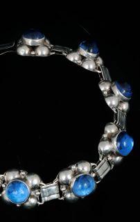 Los Ballesteros Vintage Mexican Silver Bracelet Sapphire Blue Glass
