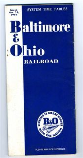 Baltimore & Ohio Railroad System Time Tables October 28 1956
