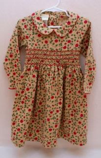 New Laura Ashley Toddler Girl Christmas Holiday Dress Red Flowers