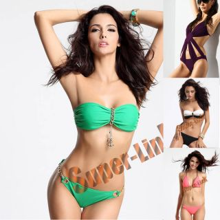 Style Sexy Women Swimwear Metal Chain Bandeau Bikini Padded Tube Top