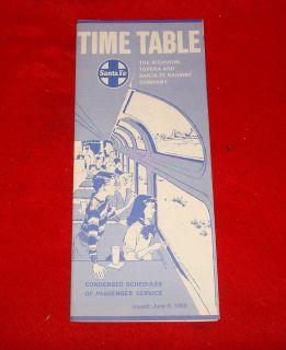 Atchison Topeka Santa Fe Railway Company Passenger Service Time Table