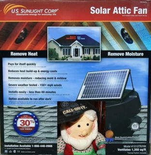 New Solar Powered Attic Fan 1010TR HW Save Electric 30 Tax Credit