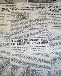 SERIES Chicago Cubs vs. Philadelphia Athletics CHAMPS Newspaper MLB