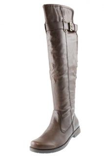 Bare Traps New Joclyn Brown Imitation Leather Belted Knee High Boots