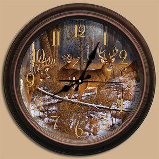 29034 IN YOUR DREAMS DEER REFLECTIVE ART CLOCK BY ARTIST HAYDEN