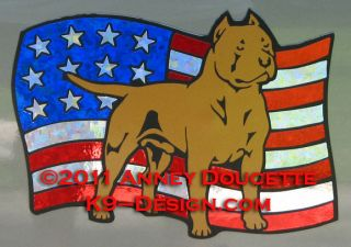 AMERICAN STAFFORDSHIRE PIT BULL TERRIER USA FLAG MAGNET