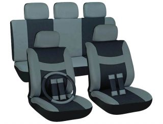 16pc Set Gray Black SUV Auto Car Seat Covers + Steering Wheel Belt Pad