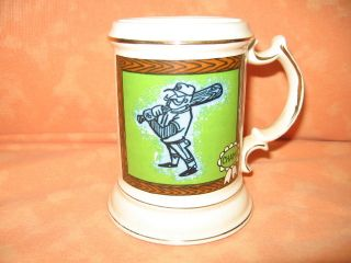 Vintage Mustache Mug Cup Coffee Baseball Champ Japan Ceramic Fathers