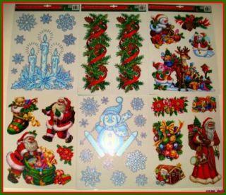 Christmas Vinyl Window Clings Snowflake Santa Decoration 6 Piece #683