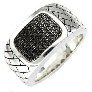 sterling silver black diamond men s ring