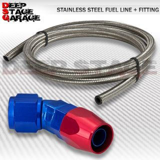 An 10 10 An SS Steel Braided Oil Fuel Line Hose 45°FAST Flow Swivel