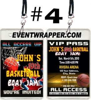 Basketball Birthday Party Ticket Invitations VIP PASSES UPRINT