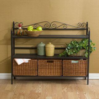 Three Drawer Bakers Rack w Rattan Baskets Cabinet Storage Kitchen NEW