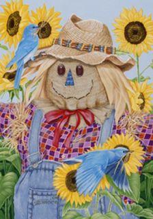 LARGE HOUSE YARD FLAG 28x40 AUTUMN Scarecrow & Bluebirds FLAG