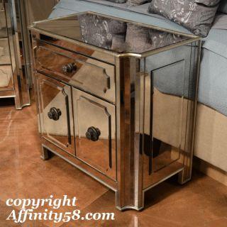Silver Mirrored Small Chest Nightstand T2000 255 Bassett Mirror Co