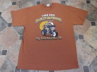 Harley Davidson T Shirt Jerzees Large Lake Erie HD Avon Ohio