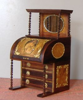 HANDCRAFTED, SIGNED MINIATURE VICTORIAN LADIES SECRETARY DESK
