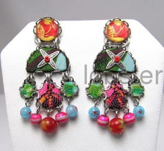 Ayala Bar Colorful Madras Dangle Earrings w Crystal Post Hip 2012
