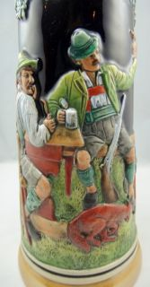 German Lidded Beer Stein 13in 1 5L Thewalt Western Germany