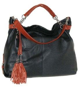 Collective by Buxton Genuine Leather Large Tote Handbag Black