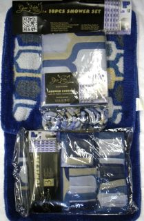 18pc Bathroom Set Blue Blocks Shower Curtain Bath Mats Rugs Towels New